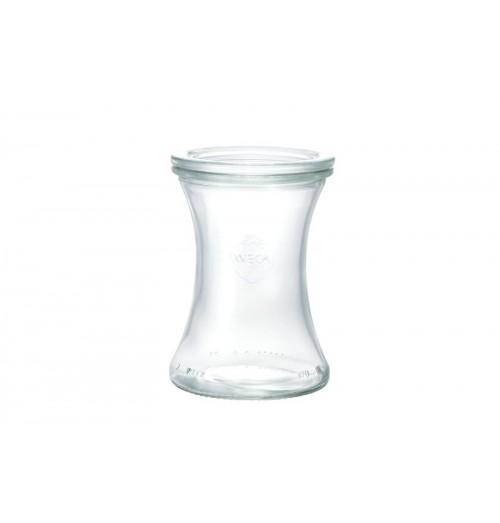 Borcan cu capac, model Delikat, din sticla, capacitate 370ml