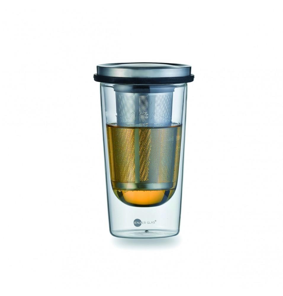 Set pentru ceai, infuzor din inox, canadin sticla cu pereti dubli, capacitate  0.35 L