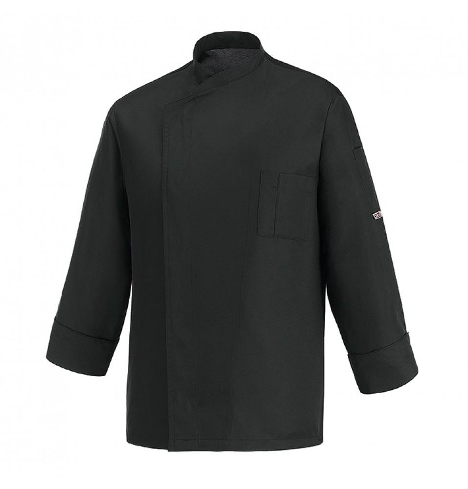 Tunica bucatar, cu maneca lunga si buzunar, realizata din microfibra 130gr/mp-100%, culoare neagra, marimea S