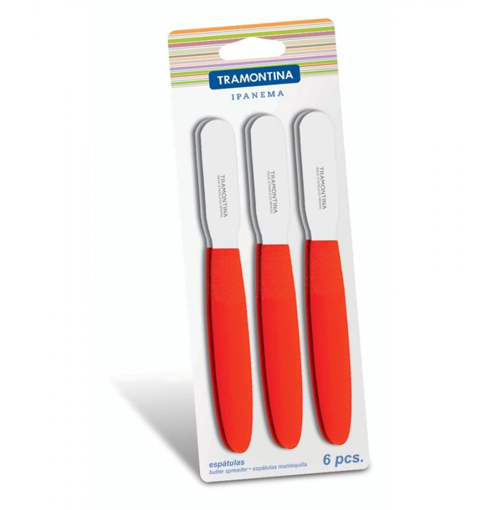 Set 6 spatule maner rosu IPANEMA pentru unt