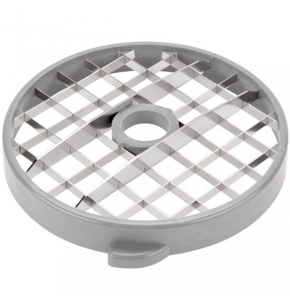 Dispozitiv taiat cuburi, format din: disc feliere 25 mm si grila pentru taiere cu gauri 25x25 mm