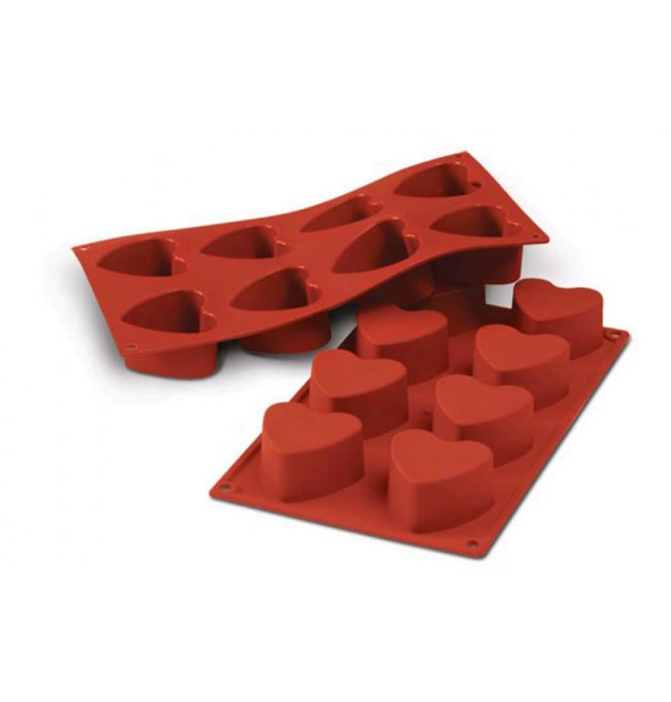 Forma din silicon pentru 8 prajituri Heart cu diametrul de 60mm