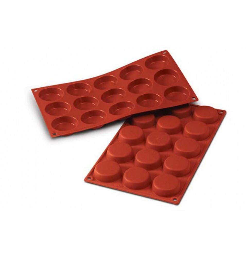 Forma din silicon pentru 15 prajituri Flan Mould cu diametrul de 50mm
