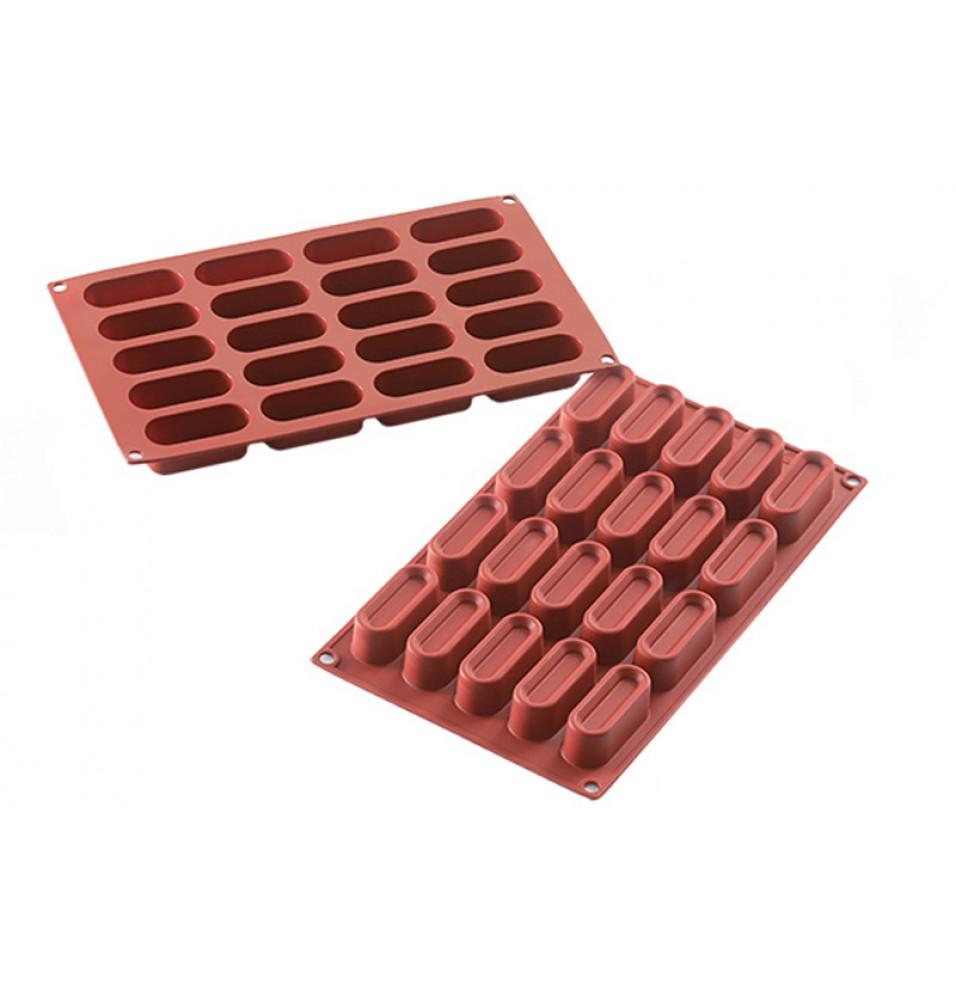 Forma din silicon pentru 20 de prajituri Mini Ovals cu dimensiunile de 60x24.5mm