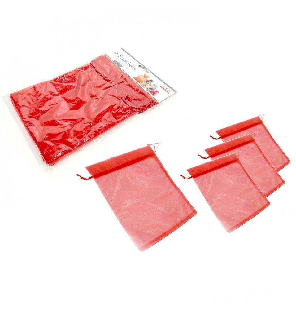Set 4 saculeti, dimensiuni 150x210mm, culoare rosie