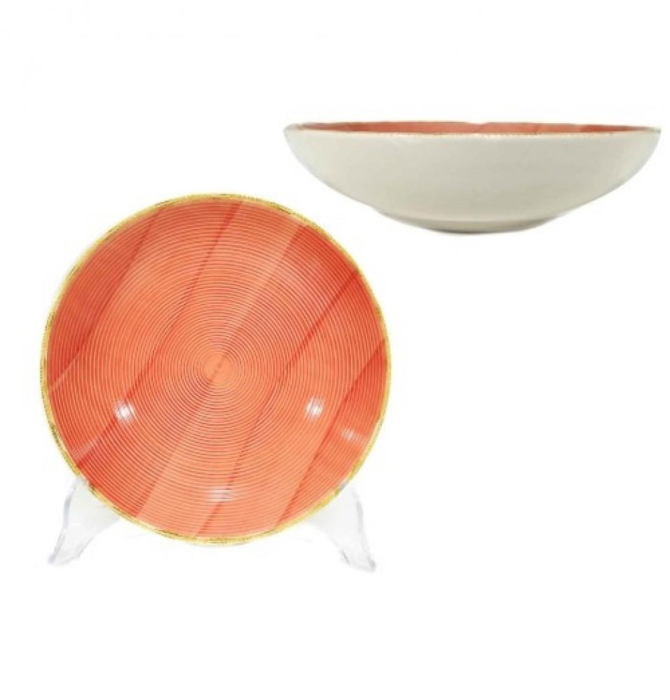 Farfurie adanca diametru 200 mm, din portelan, culoare portocaliu