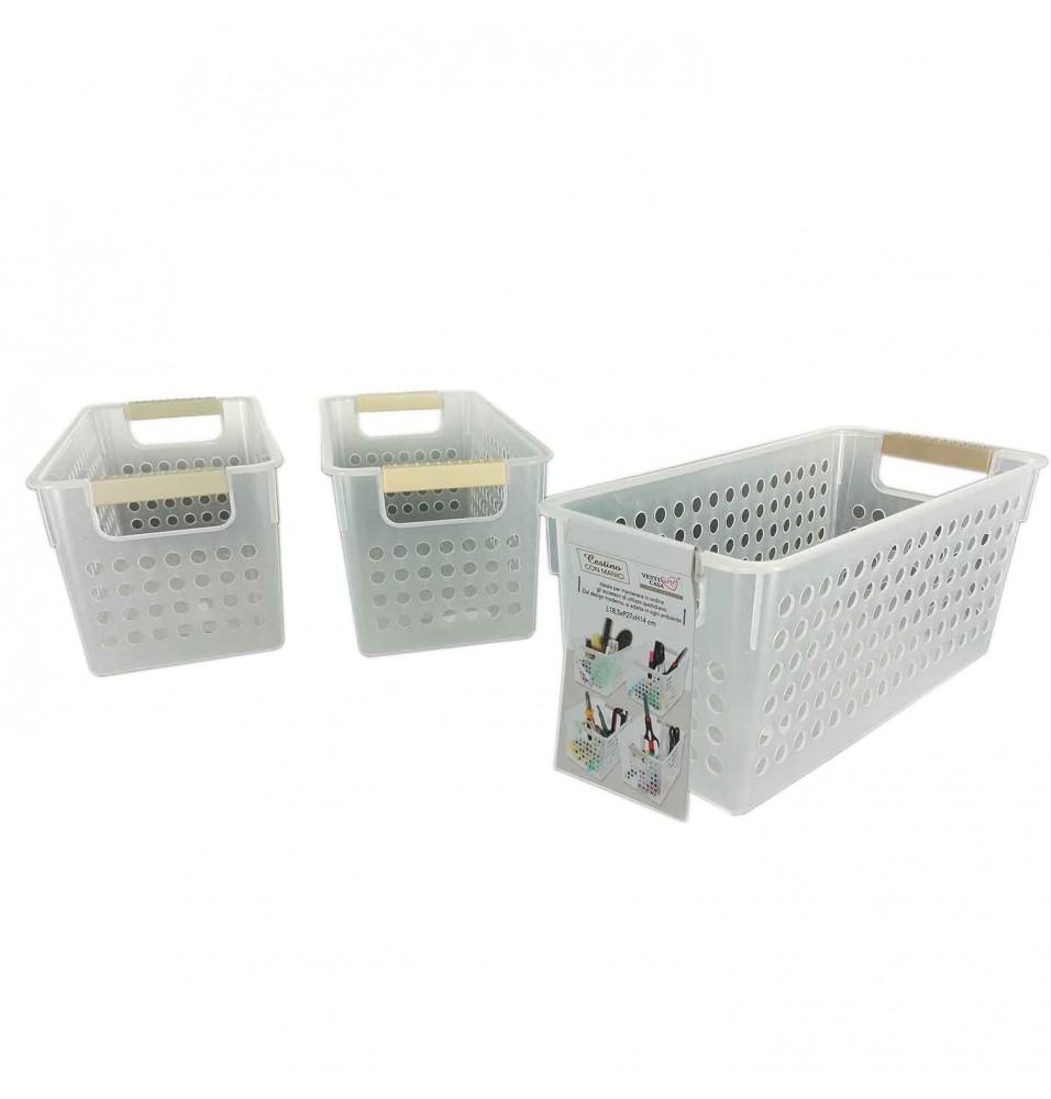 Cutie din platic, cu manere si perforatii pe laterale, dimensiuni 135x290x130h mm