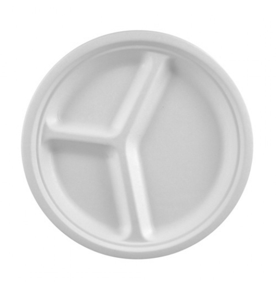 Set 50 farfurii intinse, diametru 260mm, alb, fabricate din trestie de zahar