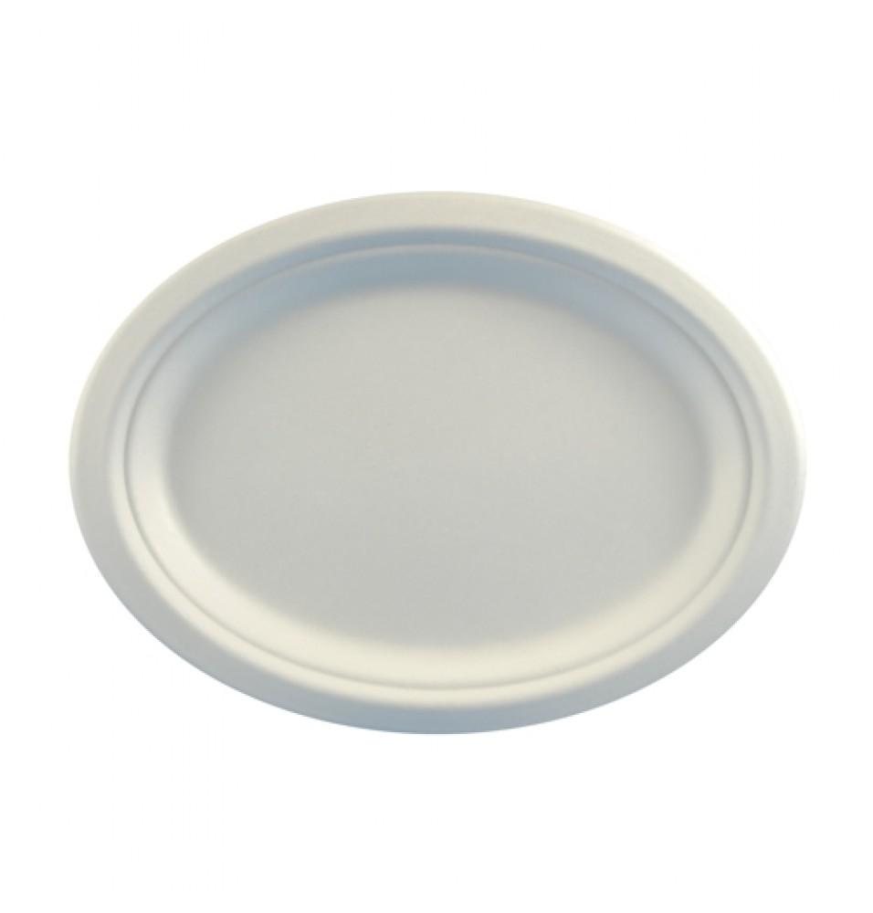 Set 50 farfurii ovale, dimensiune 260x200x20mm, culoare alba, fabricate din trestie de zahar