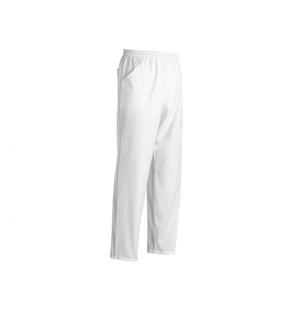 Pantalon bucatar, culoare alba, bumbac 100%,