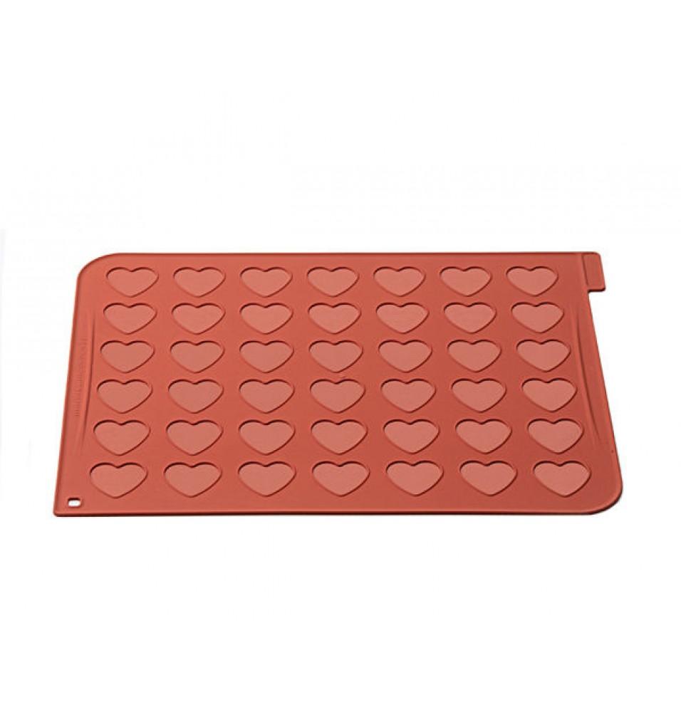 Forma din silicon pentru macarons in forma de inima, se utilizeaza la temperaturi cuprinse intre -60°C/+23°C
