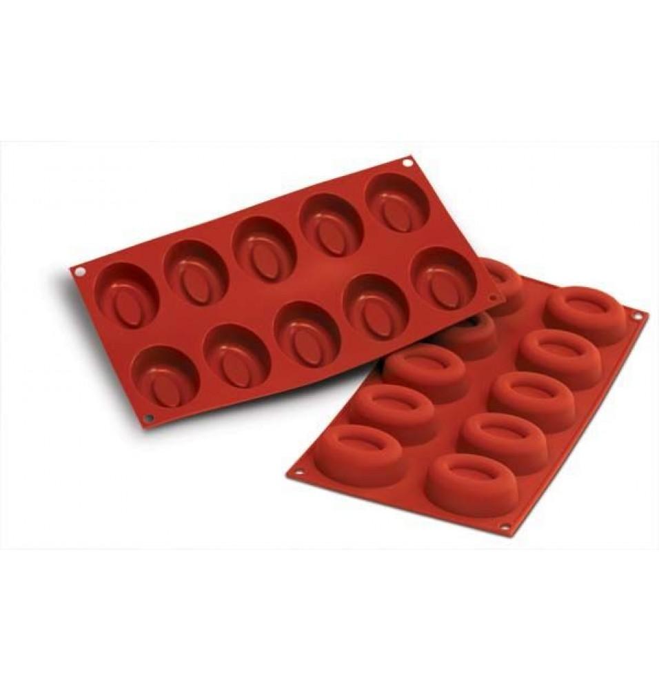 Forma din silicon pentru 10 forme ovale, silicon de culoare rosie