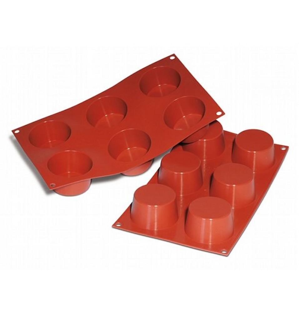 Forma din silicon pentru 6 forme rotunde, capacitate 6x119ml, silicon de culoare rosie, diametru forma 68mm