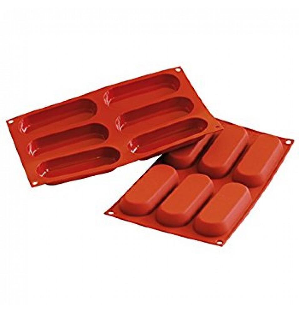 Forma din silicon pentru 6 piscoturie, capacitate 6x83ml, silicon de culoare rosie