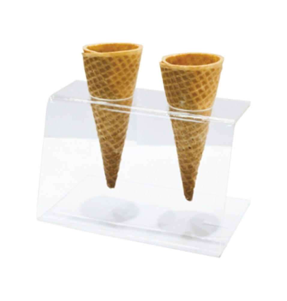 Suport cornete inghetata, 2 orificii, din plastic transparent