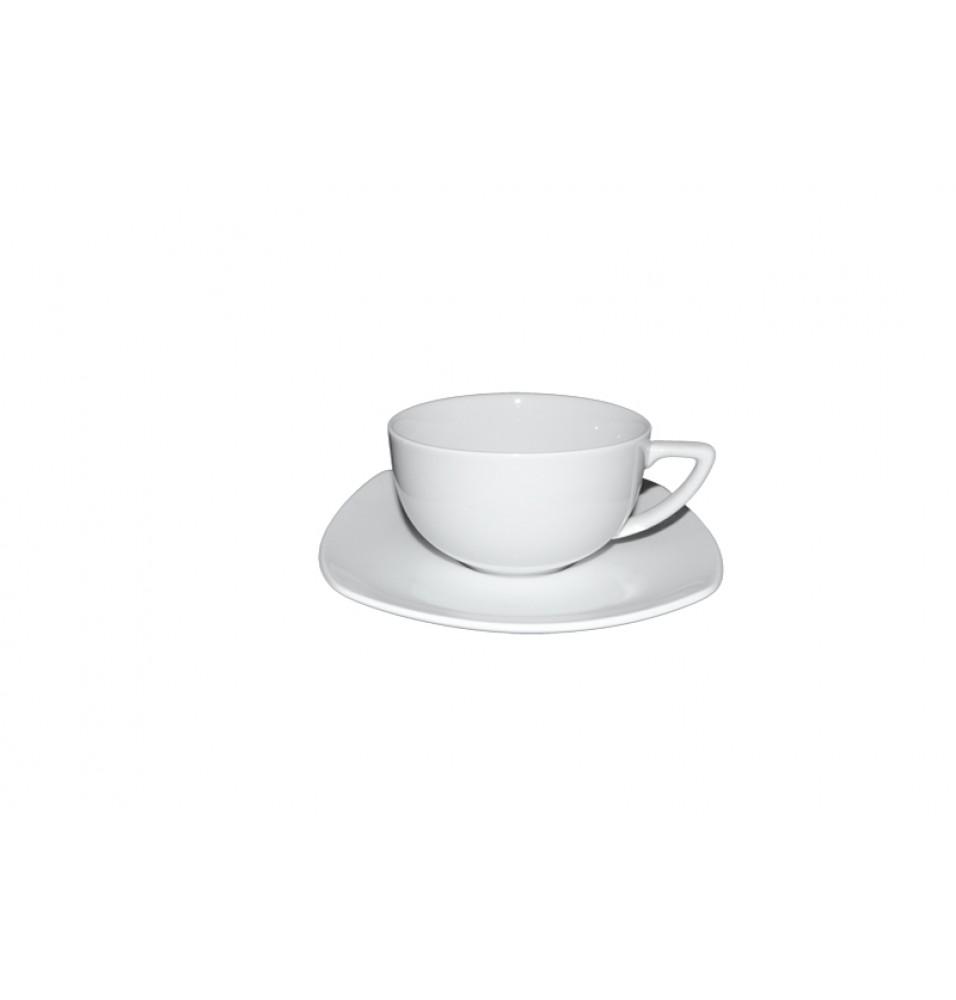 Ceasca cafea si farfurie patrata, capacitate 100ml, portelan alb