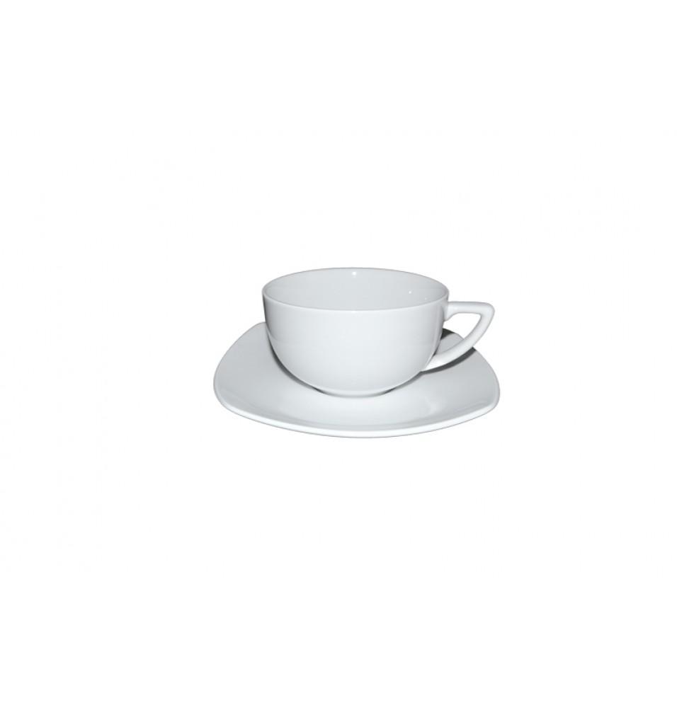 Ceasca ceai si farfurie patrata, capacitate 220ml,  portelan alb