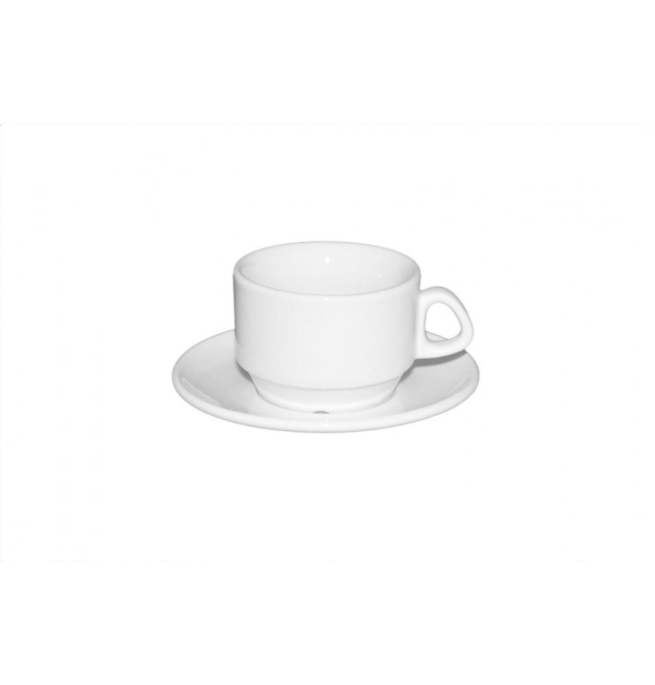Ceasca cafea si farfurie, portelan alb
