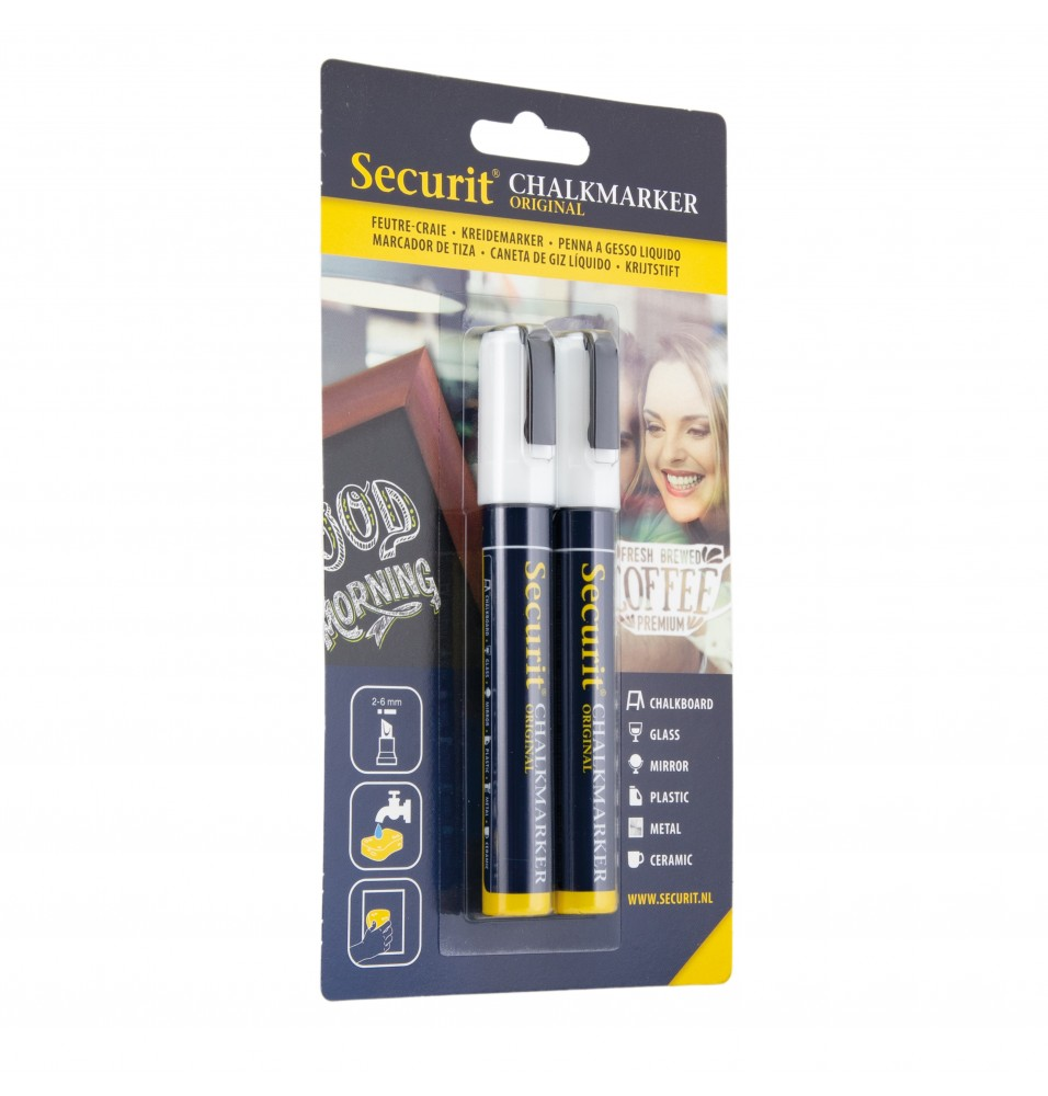 Set 2 markere, 2-6mm, culoare alb