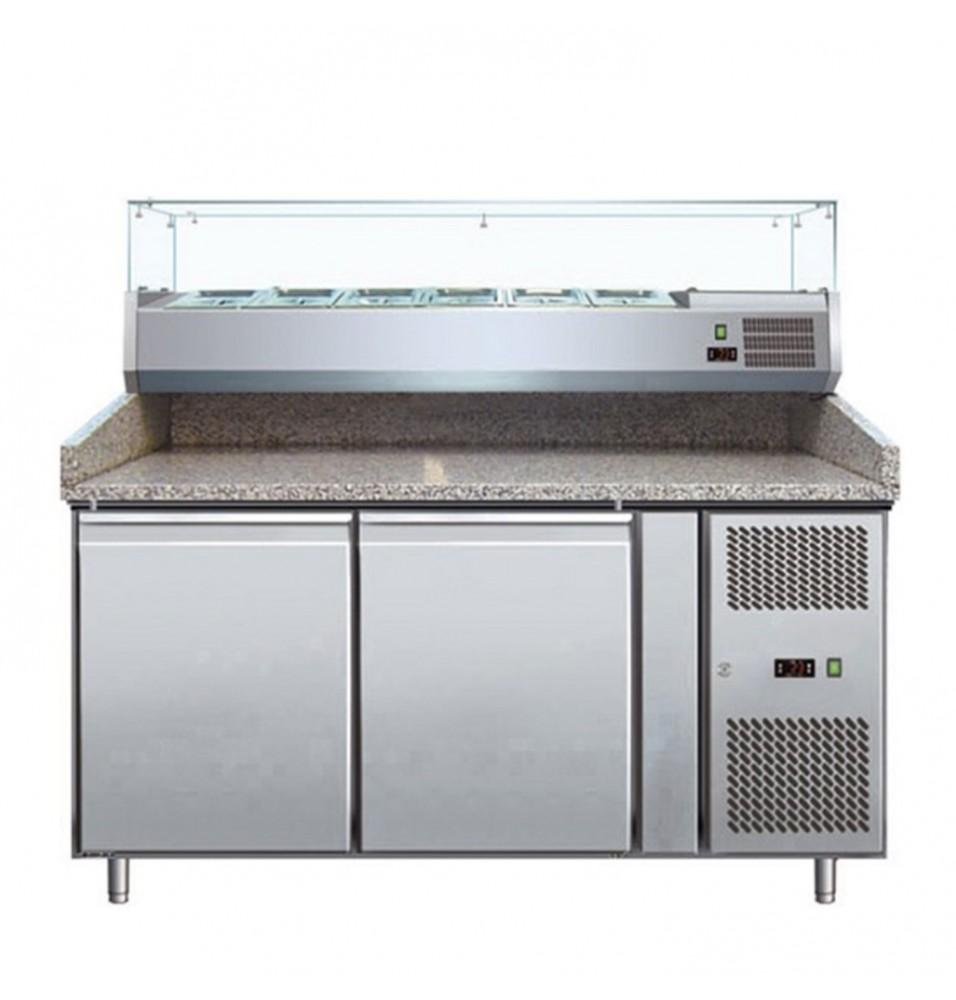 Banc refrigerant pentru pizza, capacitate neta 428 litri, temperatura de lucru +2°C/+8°C, display digital temperatura, alimentare 220V, putere 350W, greutate neta 258kg