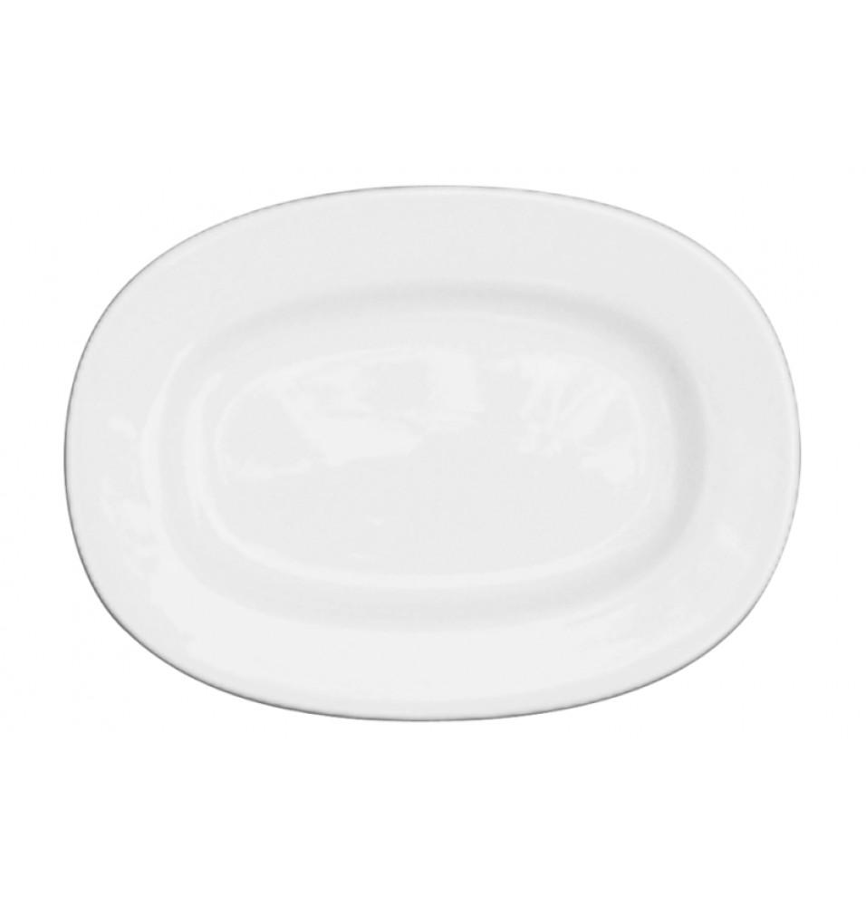 Platou oval, glazurat toata suprafata, alb