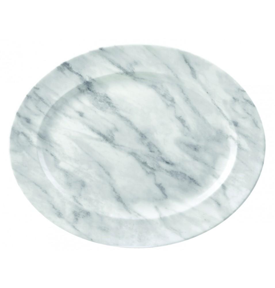 Platou oval, portelan super vitrifiat de culoare alba cu decor de culoarea gri