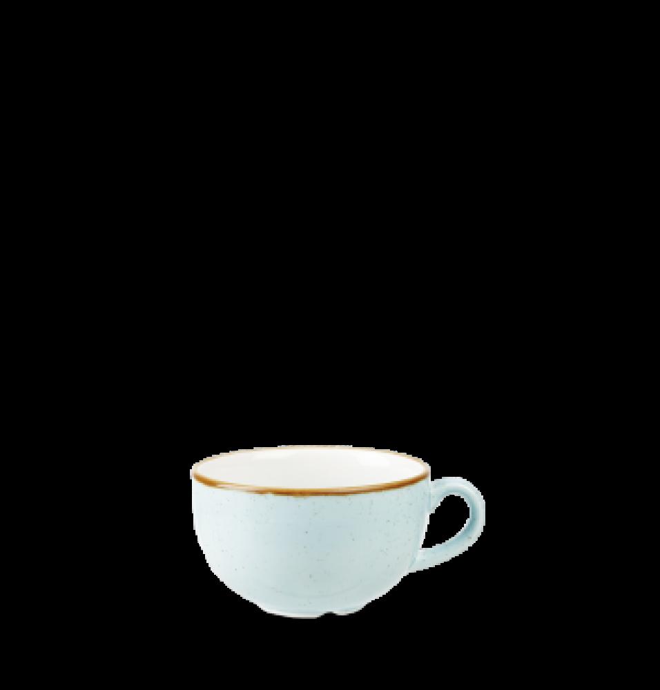 Ceasca cappuccino, portelan super-vitrifiat de culoare Duck Egg Blue glazurat pe toata suprafata, decorat manual, capacitate 340ml