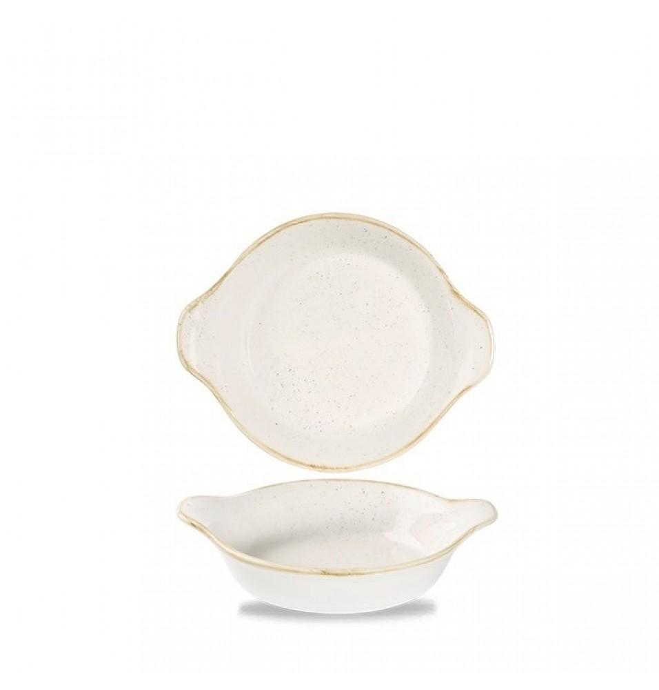 Platou oval, portelan super-vitrifiat de culoare Barley White glazurat pe toata suprafata, dimensiuni 205x113mm