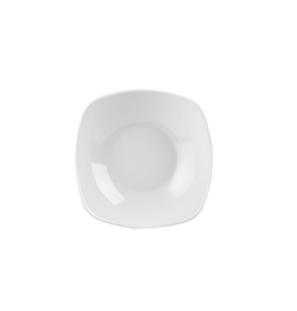 Castron, patrat, portelan, dimensiune 235mm, capacitate 1279 ml, alb