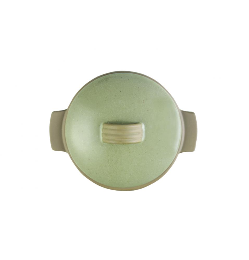 Vas rotund cu manere si capac, ceramica, capacitate 34.1cl, dimensiuni: 140x70mm