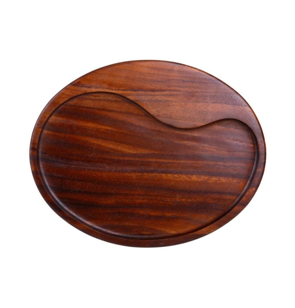 Blat suport, cu colturi rotunjite, din lemn lacuit de culoare maro, poate fi folosit pe ambele fete