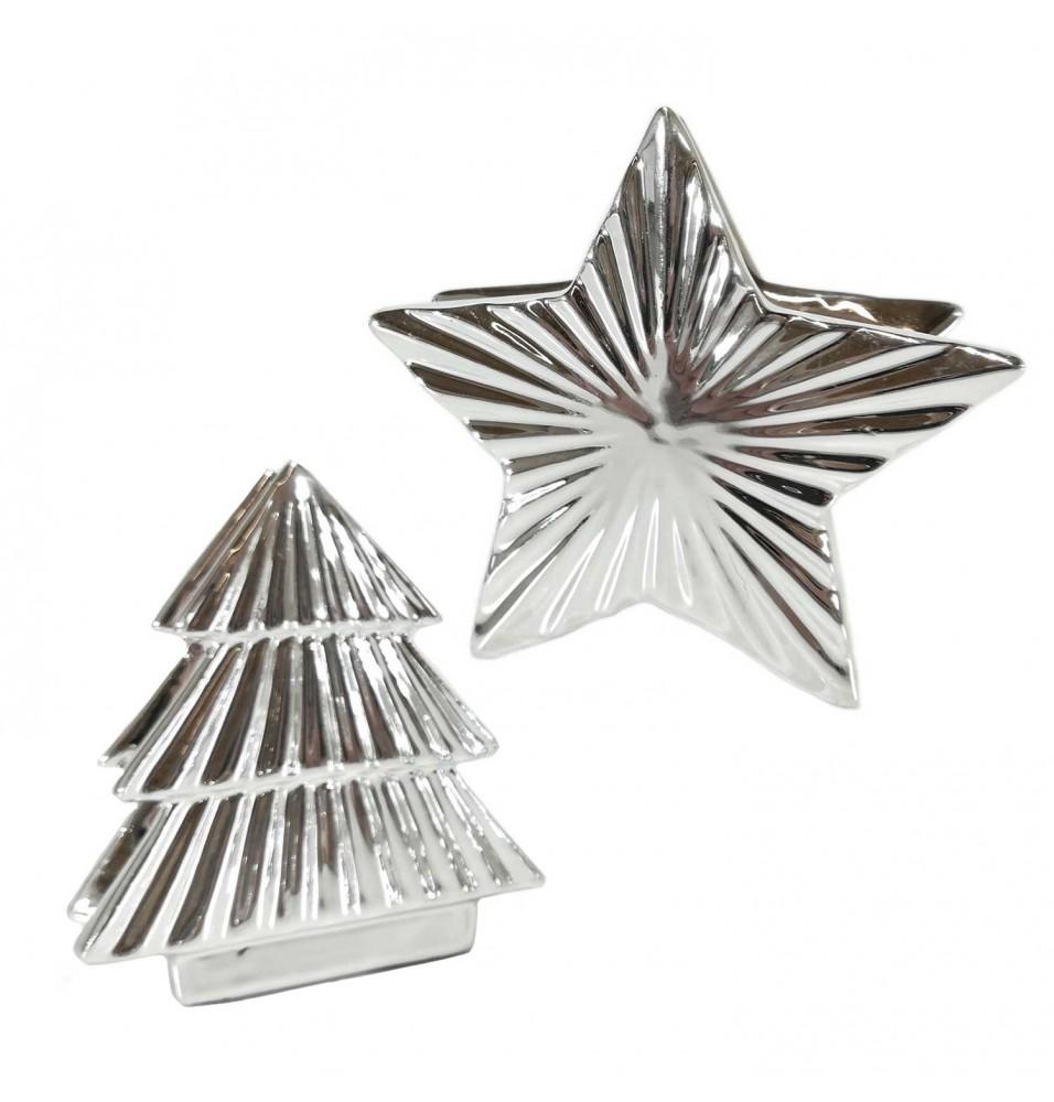 Suport servetele, model Craciun, culoare argintie