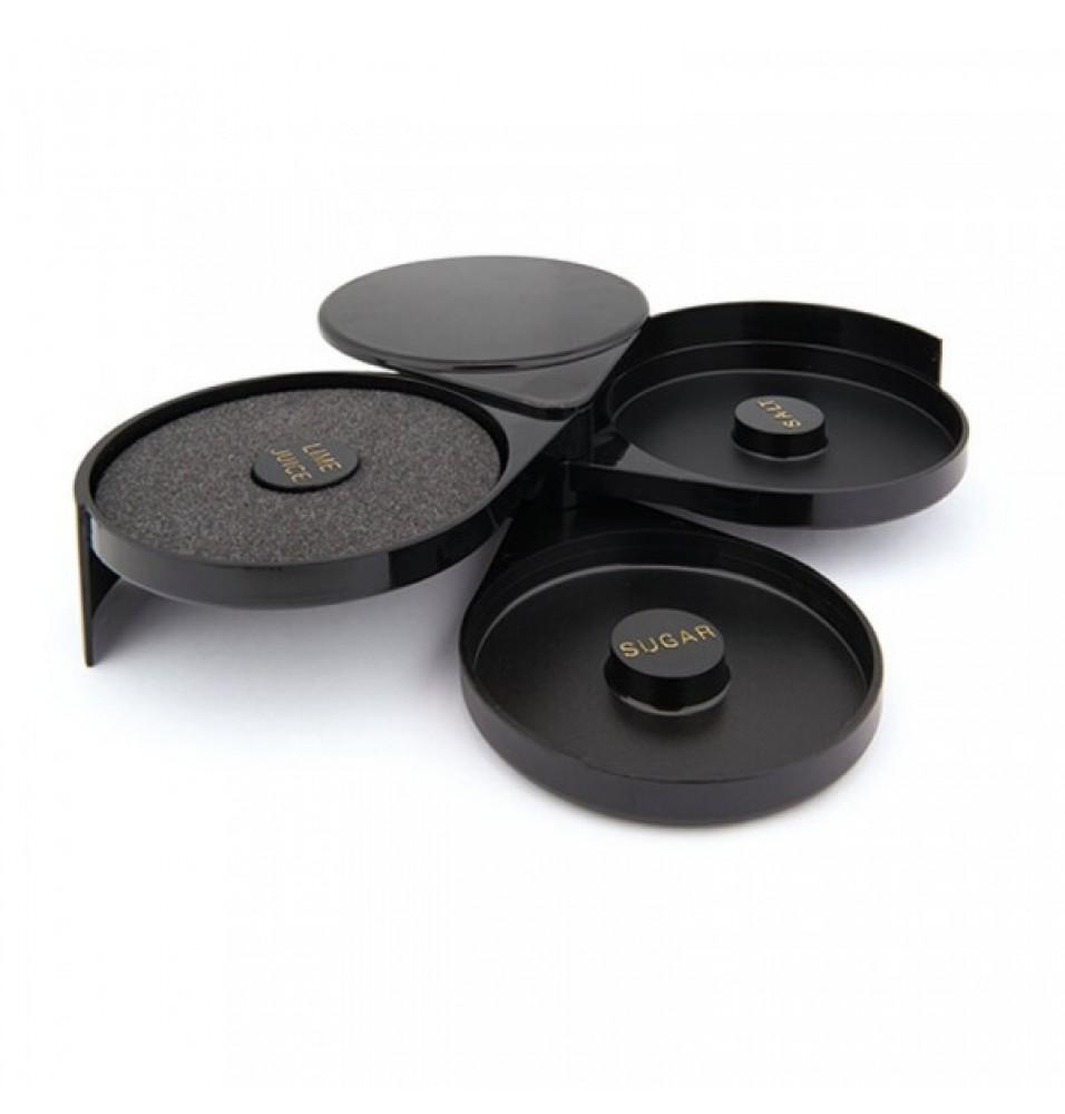 Suport glazurat pahare, 3 compartimente, diam 160mm, h 70mm, fabricat din ABS