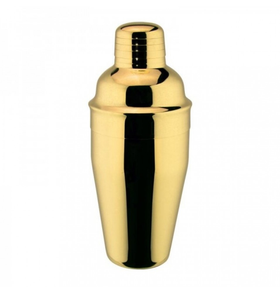 Shaker cocktail capacitate 500ml, fabricat din inox 18/10, culoare aurie