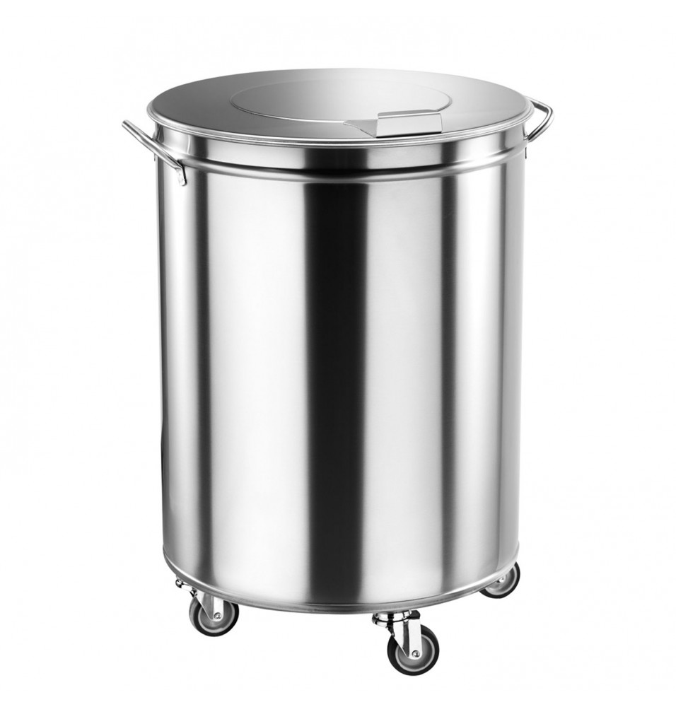 Pubela, inox,  capacitate 75 litri, diametru 450 mm, inaltime 605 mm