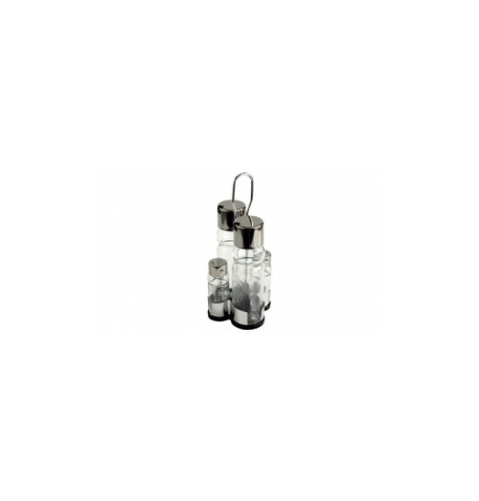 Oliviera, 4 piese, inox si sticla, dimensiuni 120x170mm