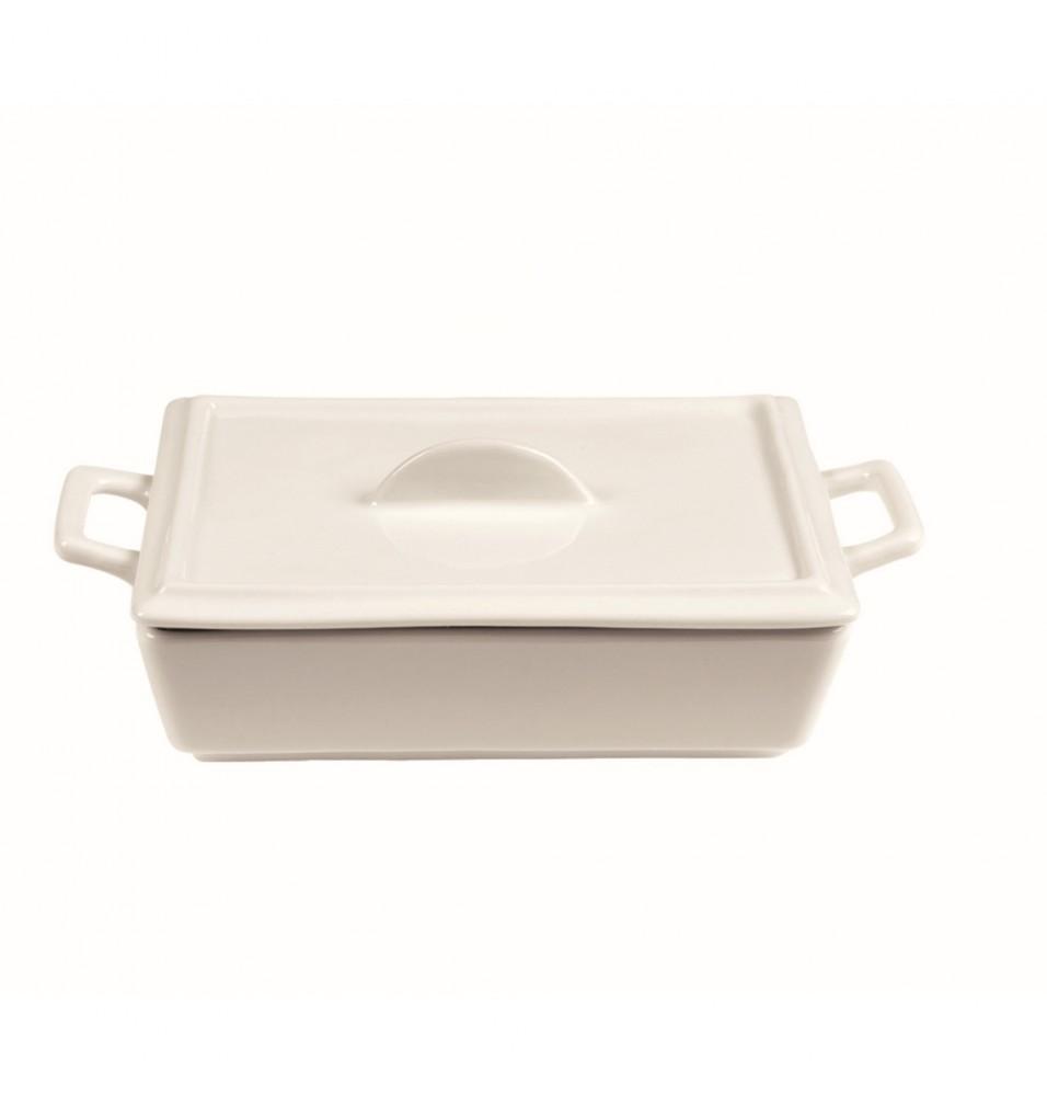 Capac rectangular din portelan alb 140x100mm