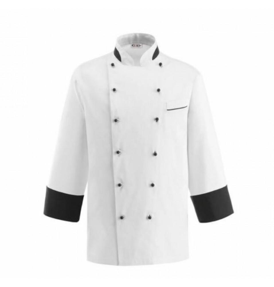 Tunica bucatar pentru barbati, maneca lunga, culoare alb cu negru, marime L