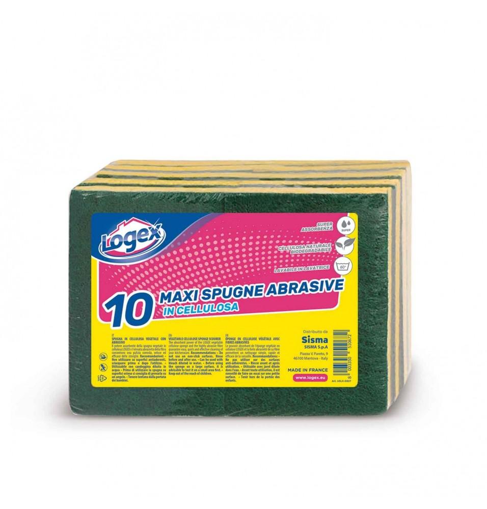 Set 10 bureti abrazivi Logex, 130x90x20mm, fabricati din celuloza naturala biodegradabila