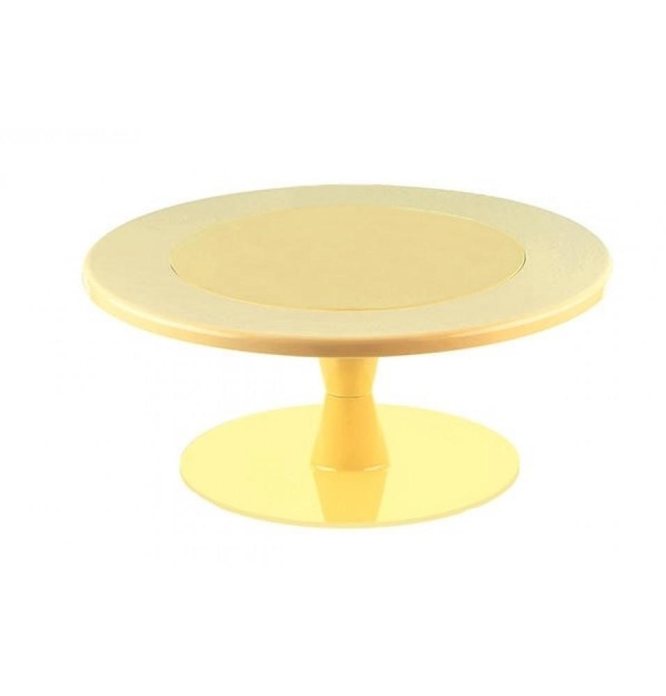 Suport prajituri, din policarbonat, diametru 300 mm, culoare galbena