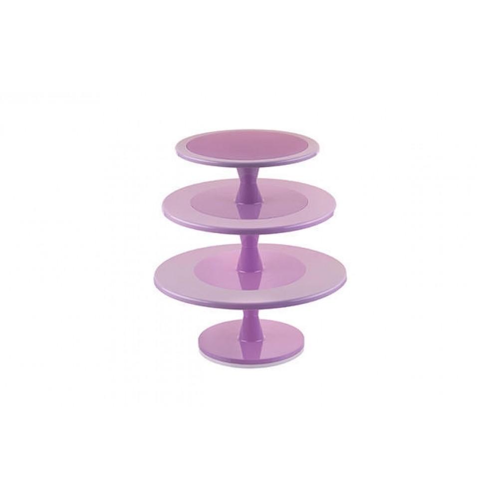 Suport cu 3 niveluri pentru prajituri model HULA UP-XXL, fabricat din policarbonat, culoare roz