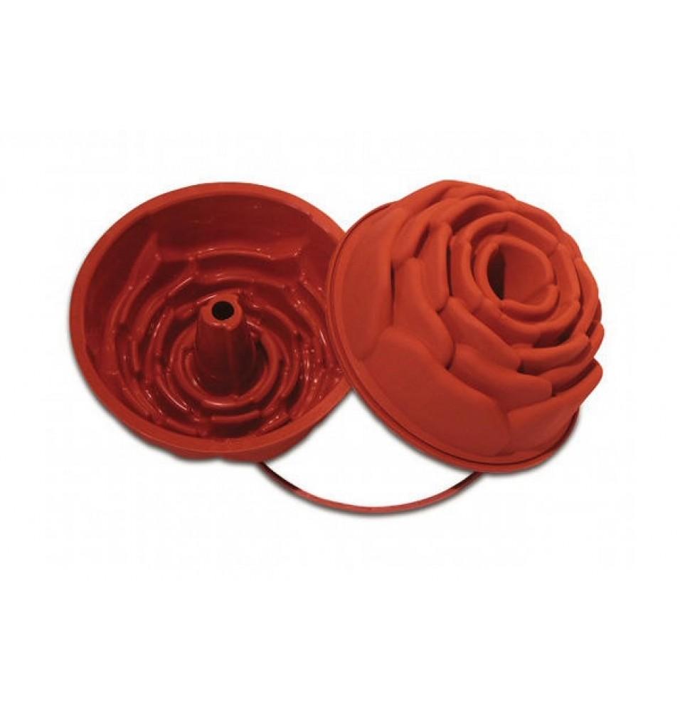 Forma tort, capacitate 2.25 litri, silicon, culoare rosie, diametru 220mm
