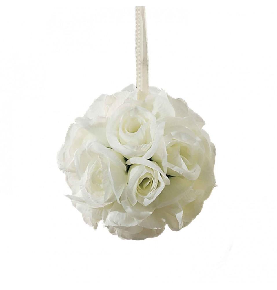 Sfera decorativa cu trandafiri ivoire, diametru 130mm