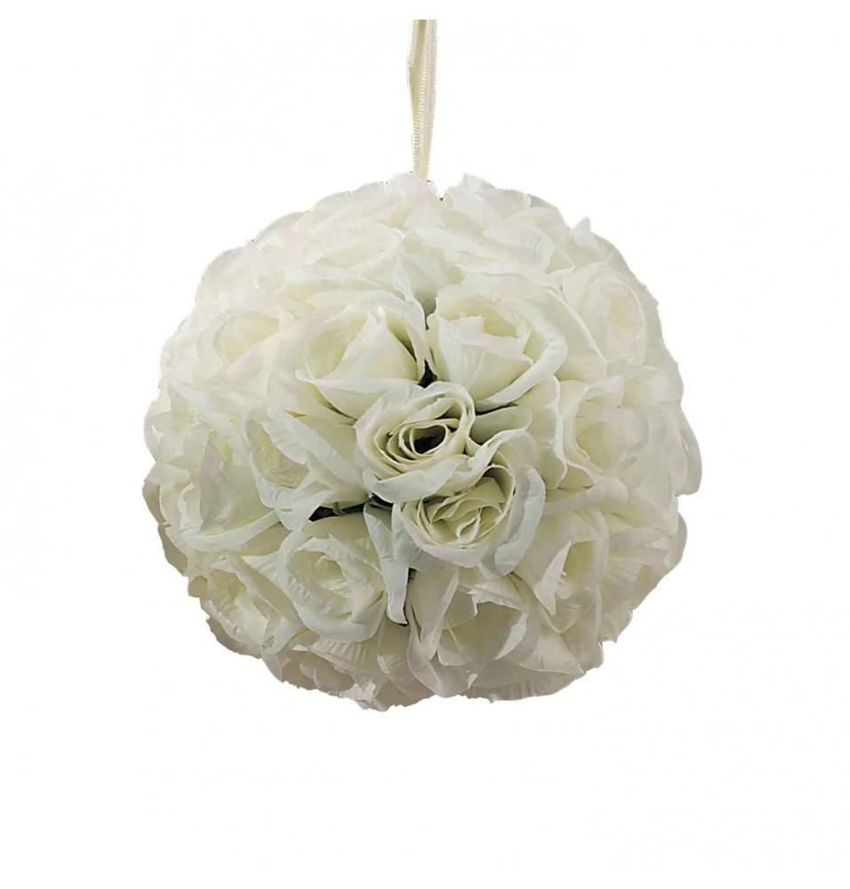 Sfera decorativa cu trandafiri ivoire, diametru 180mm