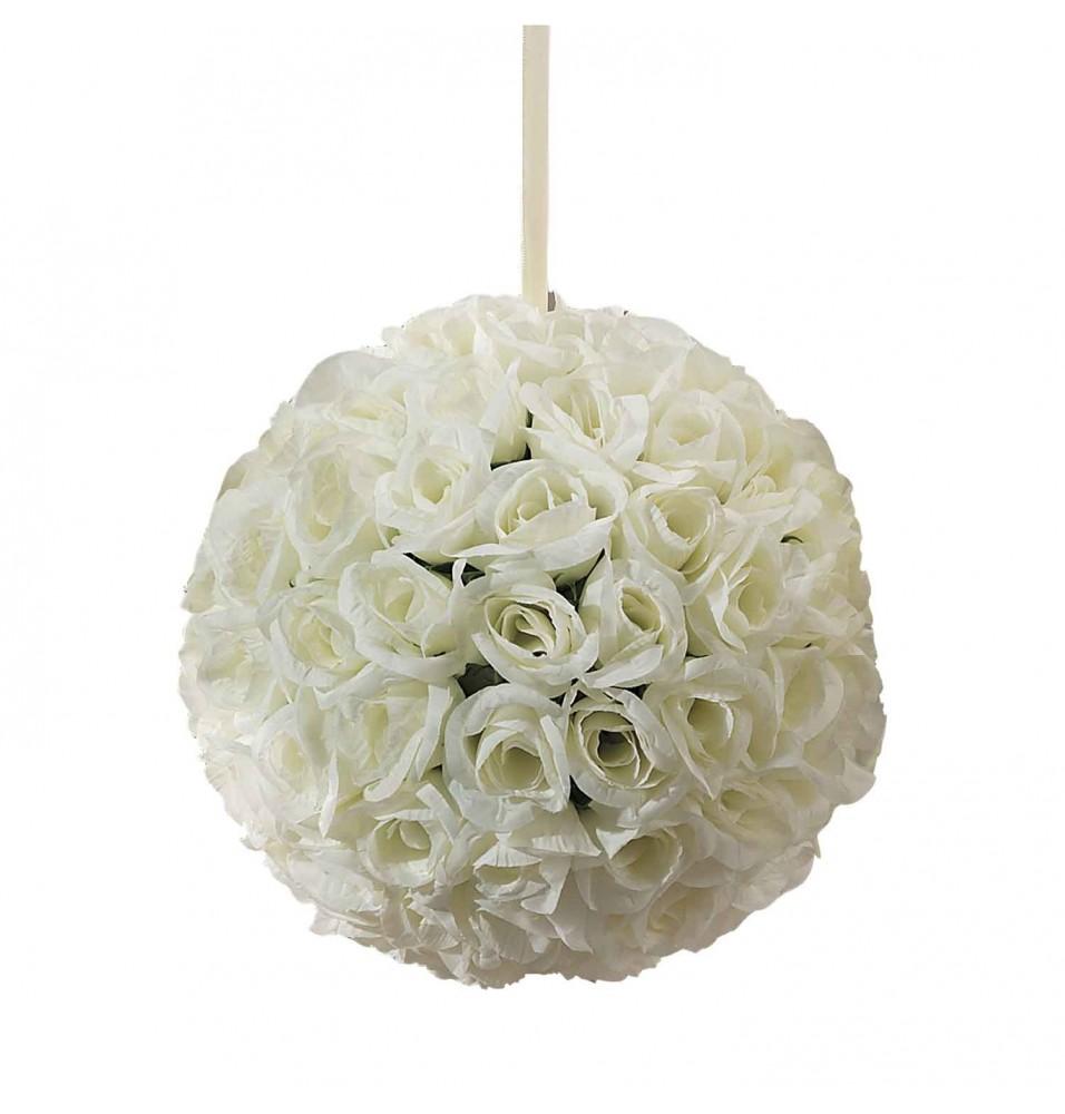 Sfera decorativa cu trandafiri ivoire, diametru 230mm