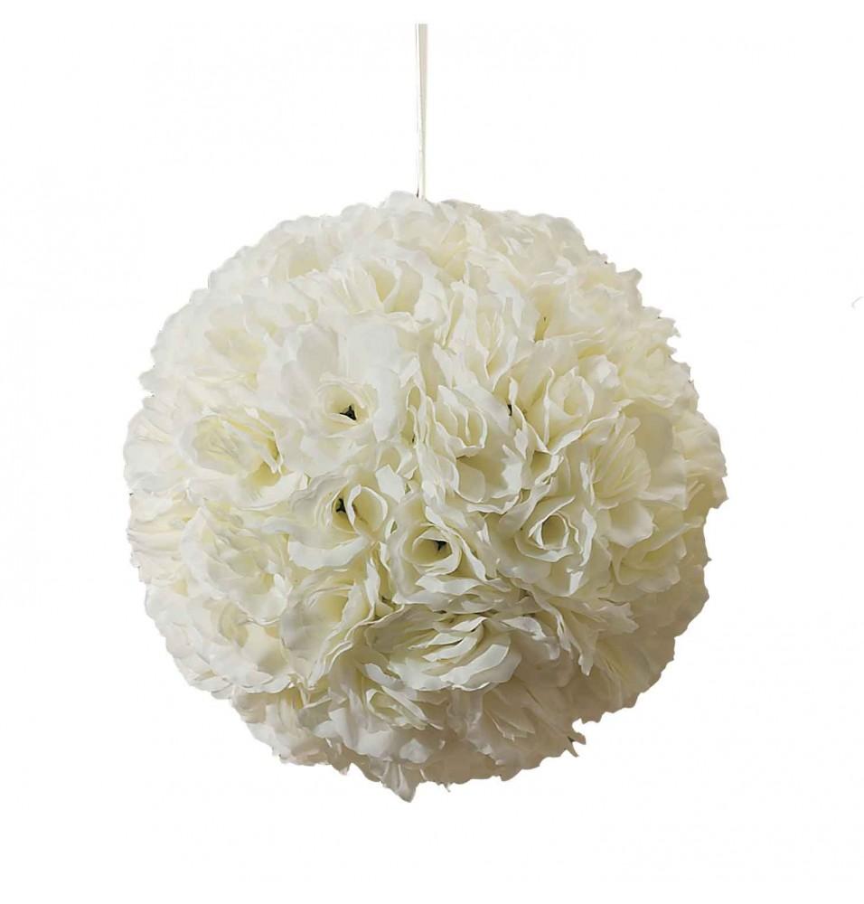Sfera decorativa cu trandafiri ivoire, diametru 280mm