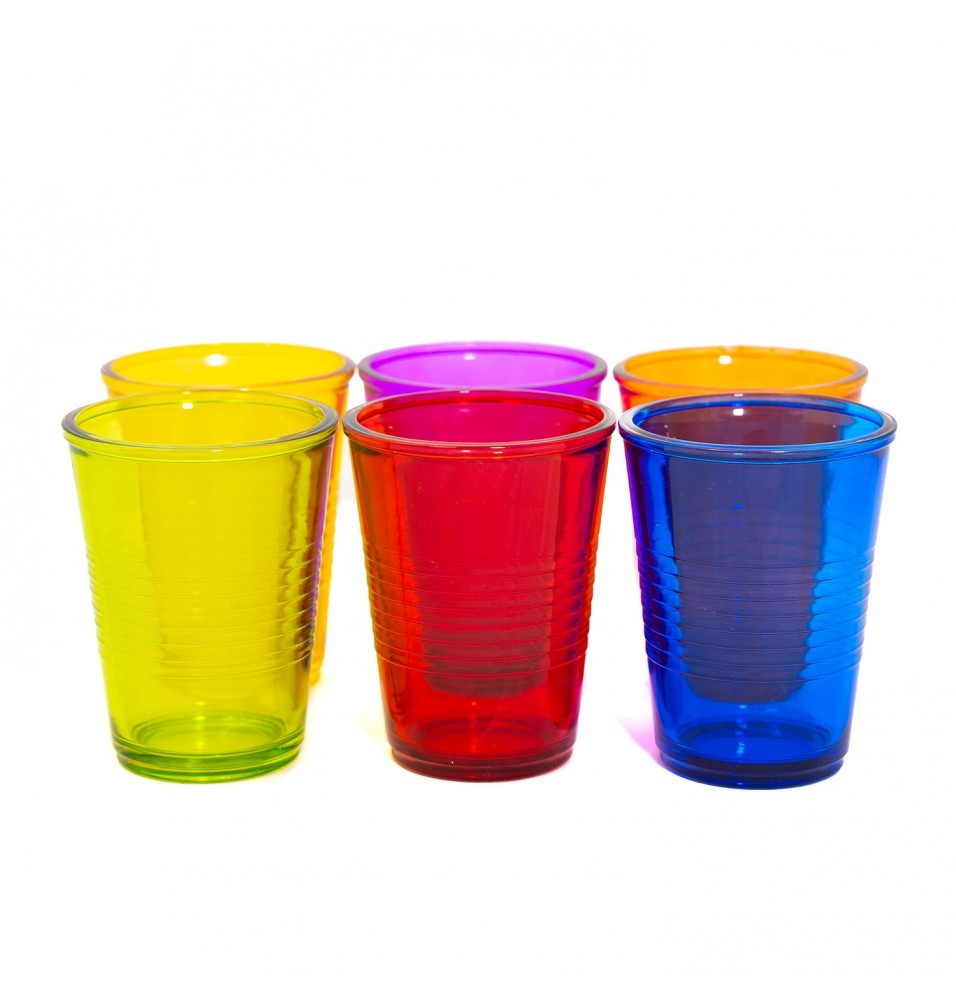 Set 6 pahare colorate, model Pure, capacitate 250ml