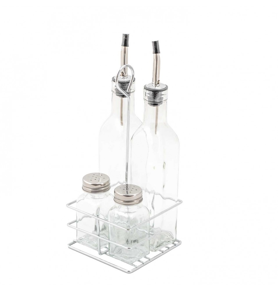 Oliviera, 4 piese, inox si sticla, dimensiuni 110x110x250h mm
