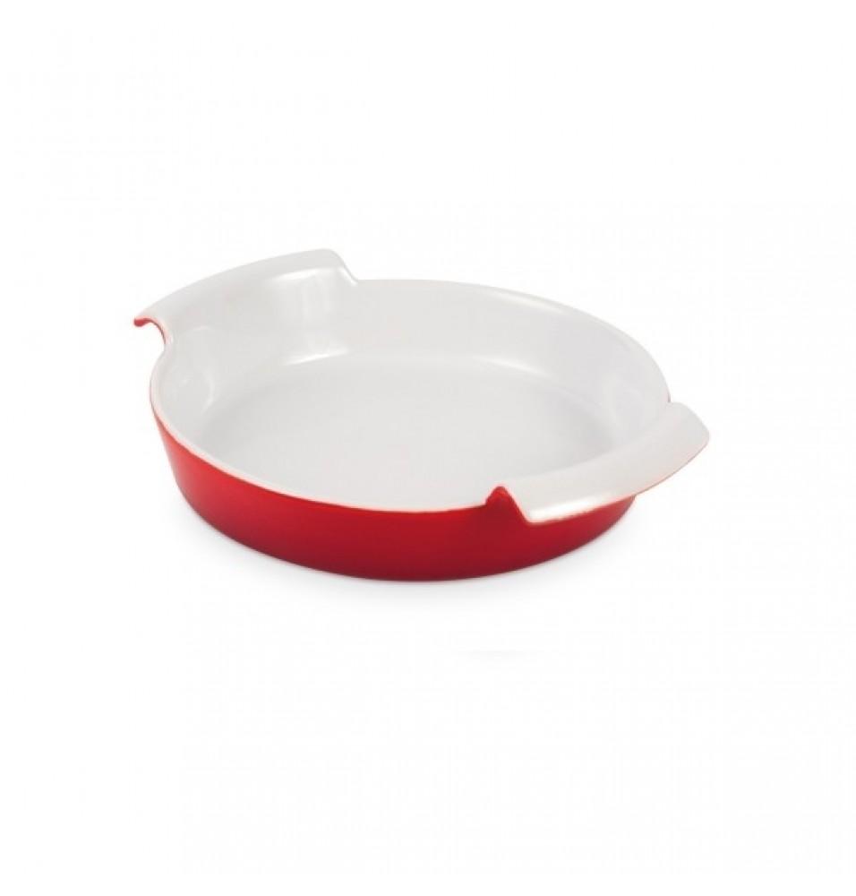 Vas rotund pentru servit, din ceramica rosie, dimensiuni 170x40 mm