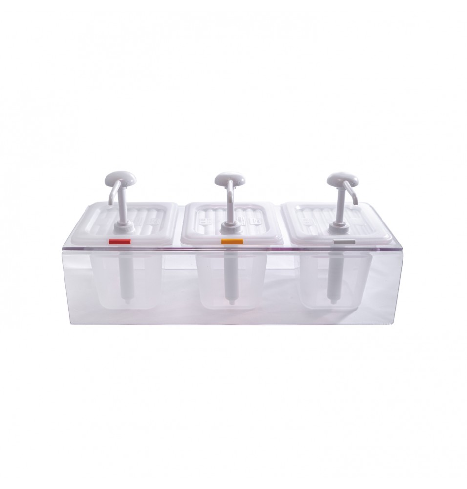 Dispenser triplu pentru sos, policarbonat
